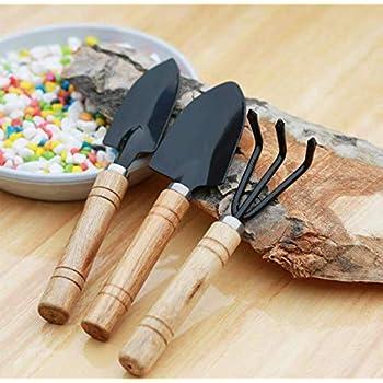 MALARNEY 3 Piece Gardening Tool Set Mini Wood Handle Shovel Trowel Gardening Tools for Flowers Succulent Tranplanting (Small)