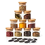 EZOWare 10 Bottles Glass Jar Set, Extra Small Air Tight Canister Storage Containers with Natural Bamboo Lids and Chalkboard Labels for Kitchen Spices, Bathroom, Party Favors (70ml / 2.4oz.)