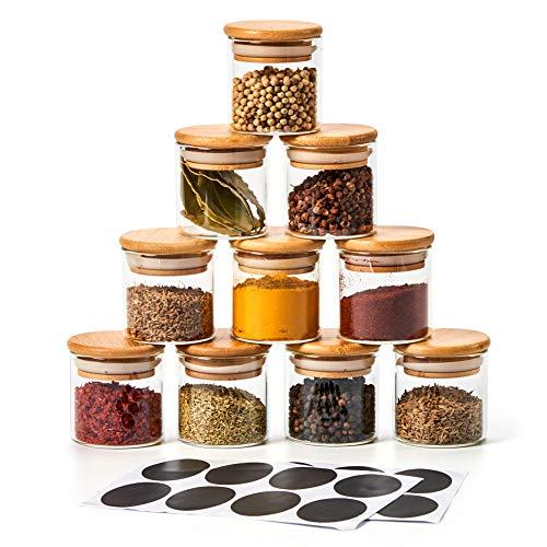 EZOWare 10 Stück Gewürzgläser, Glas-Gewürzdosen mit Hochwertigem Holzdeckel aus Bambus zur Aufbewahrung von Teekräutern und Gewürzen - 70ml