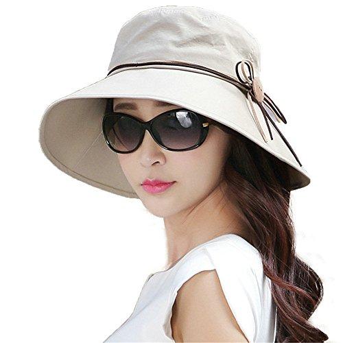 SIGGI Faltbarer Sommerhut Sonnenhut mit Sonnen Schutz Damen Baumwolle breite Krempe Khaki