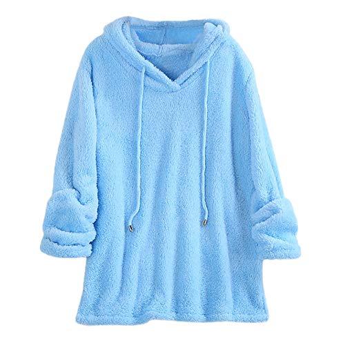 LANSKIRT Sudadera Mujer Camiseta de Manga Larga con Capucha y Jersey Felpa Sudaderas Tops Color Sólido Abrigos Mujer Invierno Suéter Caliente Hoodies Outwear