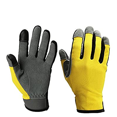 1 pairs of Deerskin Suede Work Gloves,Safety WORK Glove for Yardwork Garden house Auto repair|Protect your hands