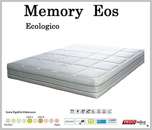 Ergorelax Materasso Memory Mod. Eos Sfoderabile in Aloe Altezza Cm. 22 singolo - 80 cm x 200 cm