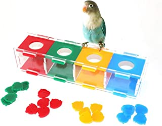 Parrot Coin Box With 20 Coins Parrot Intelligence Toy Color Separation Coin Box Interactive Playing For Parrot Macaw African Greys Cockatoo Cockatiel Eclectus Budgie Lovebirds Conures Parakeet