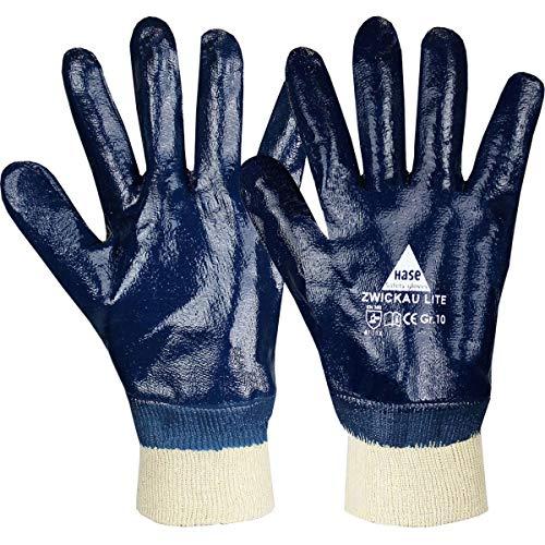 12 Paar Hase Safety Zwickau Lite Nitril-Arbeitshandschuhe vollbeschichtet, ölbeständige Nitrilhandschuhe mit Strickbund Größe XL