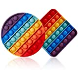 Fidget Toys Pack Push Popping Bubble Sensory Toy for Autistic Children, Silicon Pop Fidget Toy Stress Toys for Adults with AD, ADHD, Anxiety Relief Items Rainbow Pop 2 Sets