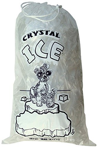 Crystal Clear Plastic Ice Bags with Cotton Draw String, 10 lb., Pack of 100