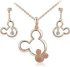 Newin Star Chapado en Oro Rosa Mickey Mouse Collar Pendientes en Cristal Accents Minnie Mouse