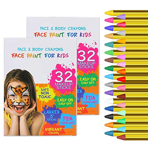 64PCS Face Paint Crayons for Kids, Face Paint Safe & Non-Toxic Face and Body Crayons, Professtional Face Painting kit for Halloween or Birthday Makeup Party Suppiles