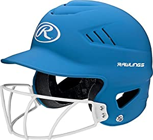 Rawlings Highlighter Series Coolflo Youth Baseball/Softball Batting Helmet with Face Guard, Matte Neon Col. Blue