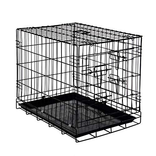 Zelsius Transportkäfig   Hundebox   Hundekäfig   Drahtkäfig für Hund Katze klein bis groß   S - XXL   mit 2 Türen   faltbar (S - 60 x 43 x 49 cm)