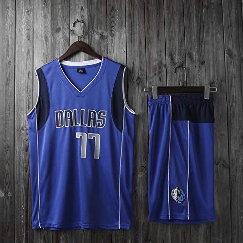 HS-XP Niños Adultos Boys Girls NBA Dallas Mavericks # 77 Luka DONCIC Jersey, Lucha DE Verano Basketball Jerseys Loungewear Trajes Top + Shorts Set,Azul,XL(Adult) 165~170CM