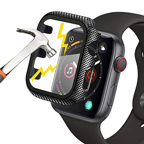 Compatible with Apple Watch Series 1/2/3 Case 38mm, Waflyer PC Hard Cover with Tempered Glass Screen Protector All-around Shockproof Protective Bumper Case Matte Frame (Carbon Fiber Texture)
