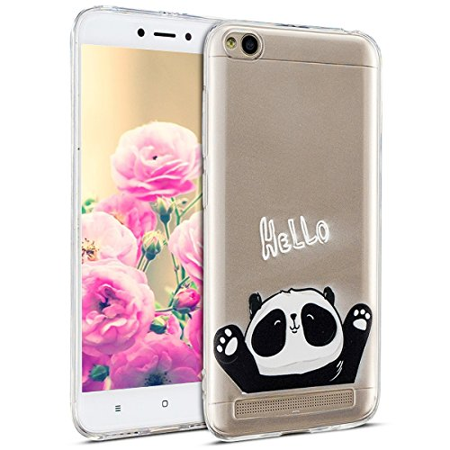 Uposao Kompatibel mit Hülle Xiaomi Redmi 5A Silikon Handyhüllen Bunt Muster Transparent TPU Silikon Handyhülle Durchsichtige Schutzhülle TPU Weich Tasche,Niedlich Panda