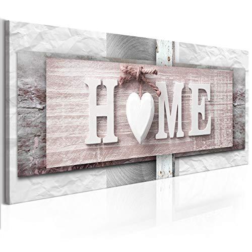decomonkey Bilder Home Haus 120x40 cm XXL 1 Teilig Leinwandbilder Bild auf Leinwand Vlies Wandbild Kunstdruck Wanddeko Wand Wohnzimmer Wanddekoration Deko Herz Sprüche
