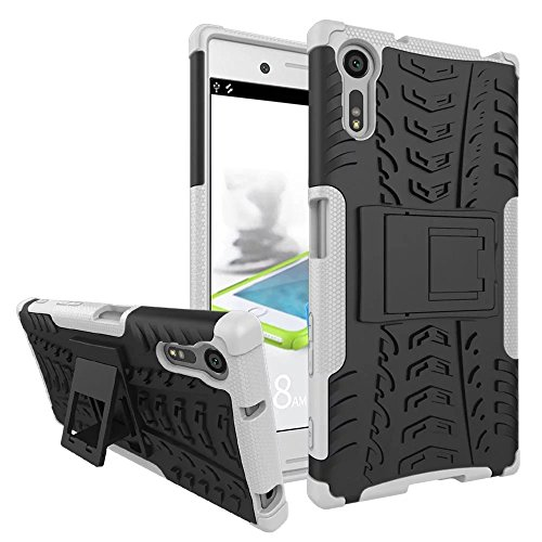 MyCase for Sony Xperia XZ/XZs New Dual Layer Hybrid Armor Case Detachable [Kickstand] 2 in 1 Shockproof Tough Rugged Case Cover (Color : White)