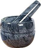 Lloow Mortier avec Piston, Coquille de Guacamole en marbre 100% Naturel, moulins à épices piliers broyeurs de broyeur de Poudre de broyeur pour cuisinières de Cuisine Ail Moulcer