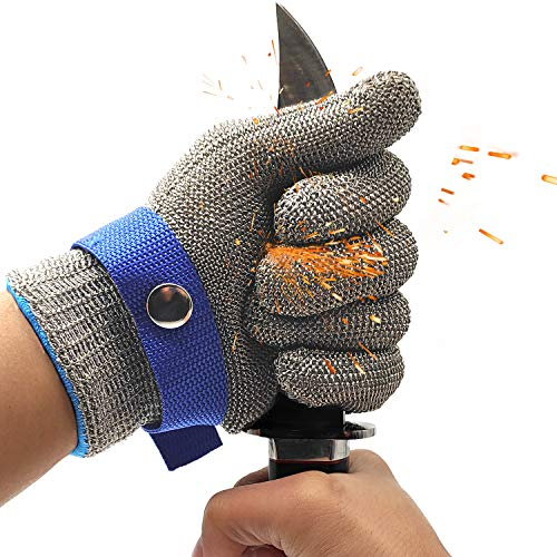 Stainless Steel Mesh Metal Wire Gloves Cut Resistant Level 9 Durable Rustproof Butcher Glove Kitchen Cutting Heavy Protection. (MEDIUM)