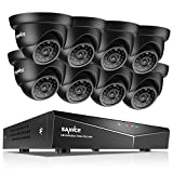SANNCE 8-Channel HD 1080N Home Security Camera System and (8) 1080P Indoor Outdoor IP66 Weatherproof Wired Dome Cameras with 100FT IR Night Vision LEDs, Remote Access - NO Hard Drive