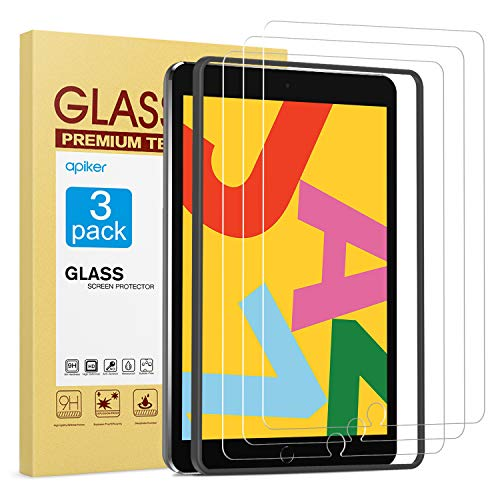 apiker [3 Pack] Screen Protector for iPad 7th Generation 10.2 Inch (iPad 7) 2019 Release, Tempered Glass Screen Protector Compatible with Apple Pencil