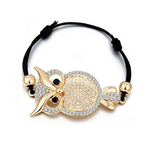 Frauen Bettelarmband, Eule Armreif Stretch Freundschaftsarmband einstellbar Wachsschnur Manschette Armband mit CZ-Kristall (vergoldet)