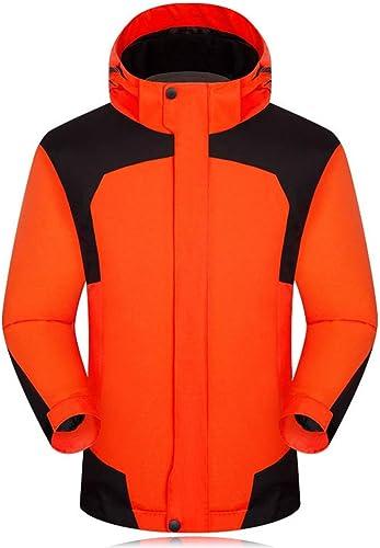 Wanlianer Veste de Montagne étanche pour Homme Mountain Waterproof Ski Veste de Pluie Coupe-Vent, Polyester, Orange, S