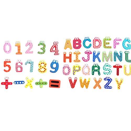 OUNONA Imanes para Refrigerador Nevera Madera de cabrito de dibujos animados Número e alfabeto Nevera Imán Etiqueta