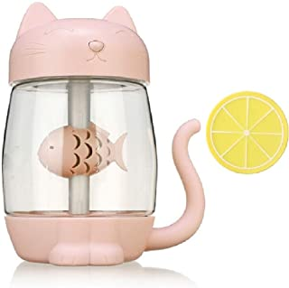 Mini Humidifier, USB Cat Small Humidifier with 350 ml Water Tank and 7-Color Night Light, 3 in 1, with USB Lamp and Fan, w...