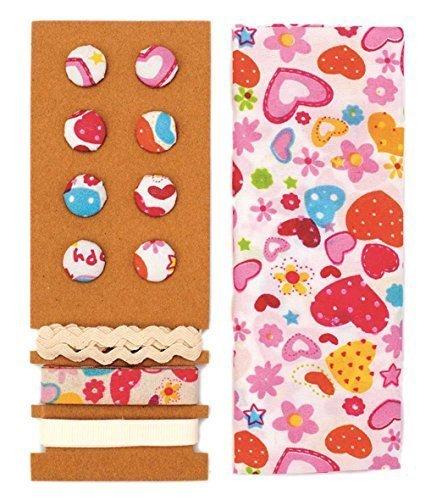 LILI ROSE Jeu de textile coloré Herzen 48x48cm rubans 3x1m 8 boutons