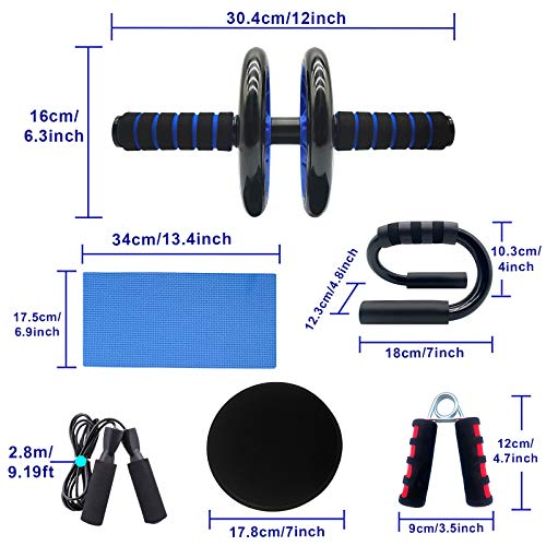 Euyecety 8 in 1 Ab Wheel Roller Set - Abdominal Wheel Roller + Knee Pad + 2 Gliding Discs + 2 Push-Up Bar + Hand Gripper + Jump Rope for Losing Weight Fitness Exercise Bodybuilding