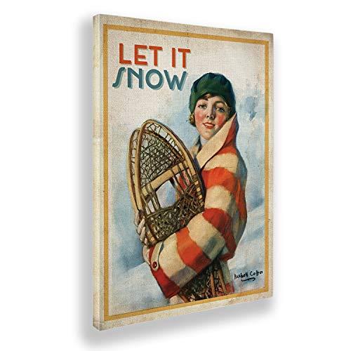 Giallobus - Pintura - Artists Saturday Evening - Woman and Snowshoes - Tela Canvas - 70x100 - Vintage - America - Años 50 - Listo para Colgar