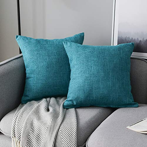 Anickal Set of 2 Lake Blue Pillow Covers Cotton Linen Decorative Square Throw Pillow Covers Cushion Case 22x22 Inch for Farmhouse Sofa Couch Home Decoration
