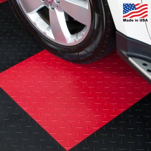 ModuTile Garage Flooring Interlocking Tiles, Diamond Top, Red, 27 Pack