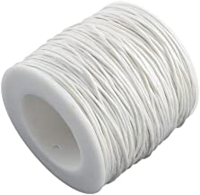 Craftdady 100 Yards 1mm Waxed Cotton Cord Macrame Bracelet Necklace Jewelry Making Waxed Beading Thread String (White)