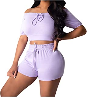 Allywit Fashion Womens Sexy Solid Bandage Tracksuit Short Sleeve Off Shoulder Tops Sports Shorts Set