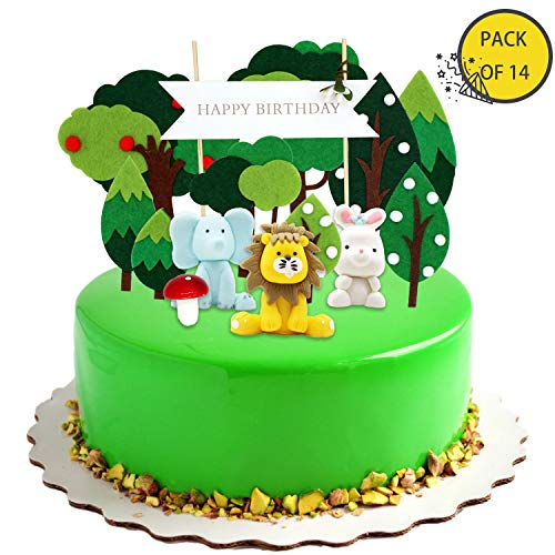 KiraKira Decorazioni Compleanno Jungle Party,Decorazioni Torta Compleanno, Compleanno re Leone, Topper Torta Buon Compleanno for Kids (Set di 14)