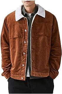 Ladyful Men's Winter Sherpa Lined Corduroy Trucker Jacket Coat Outcoat