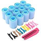 Self Grip Hair Rollers Set, with Hairdressing Curlers (Large, Medium, Small), Folding Pocket Plastic Comb, Duckbill Clips