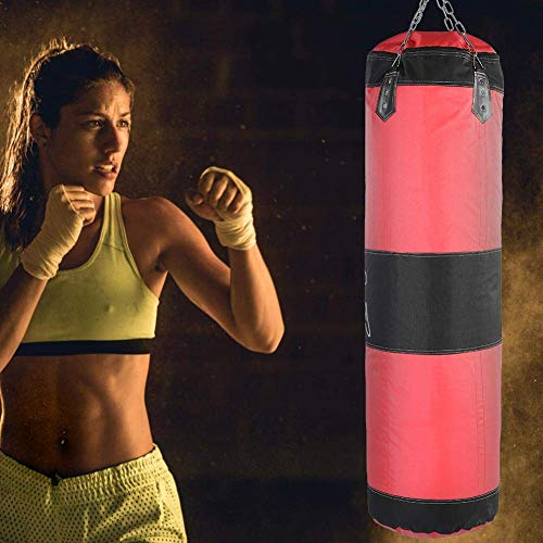 AYNEFY Boxsack, leer, für Boxen, Kicksack, Kicksack, Kicksack, Karate, Punch, Sandtasche, rot, 80 cm