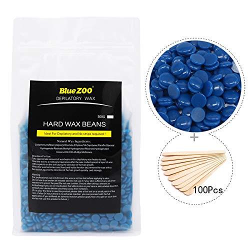 Joyeee Perles de cire à épiler professionnelles, 500g + 100 spatules, L'épilation originale Hard Wax Beans, Perles de Cire à épiler Pelable, Billes solides d'épilation sans bande (Camomille)