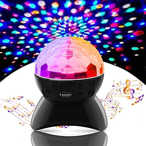 Discokugel LED Party Lampe, SZSMD Bluetooth Musikspieler Disco Lichteffekte, Discolicht Projektor mit USB Kabel, 6 Farbe RGB 360° Drehbares Partylicht für Weihnachten, Kinder, Kinderzimmer, Party