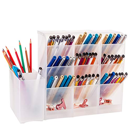 YAOYUE Large Size Durable Strong Set of 5Pcs Desk Organizer-Pen Holder Cup Makeup Marker Pencil Storage for Office School Home Supplies Teacher Translucent White Color
