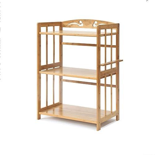CCF Regal-Mikrowellenherd-Regal-Küchen-Wohnzimmer-Schlafzimmer-Boden-Stand-Bambusholz-Regal-Speicher-Regal CCFSF (Farbe   42  38  80CM)