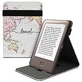 kwmobile Funda Compatible con Tolino Shine - Carcasa para e-Book de Cuero sintético - Mapa Mundial Negro/Multicolor