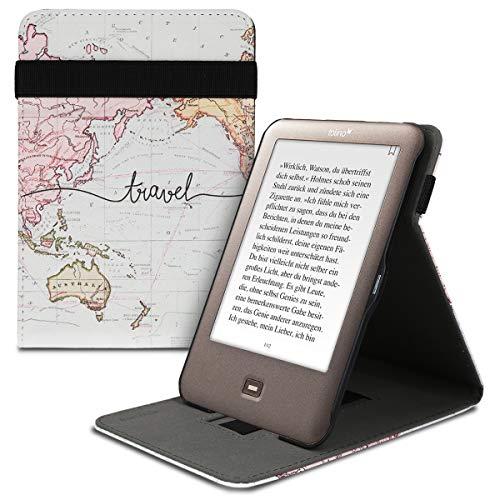 kwmobile Hülle kompatibel mit Tolino Shine - Schlaufe Ständer - e-Reader Schutzhülle - Travel Schriftzug Schwarz Mehrfarbig