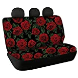 Sporthere Red Rose Print Car Back Seat Covers for Women Girly Soft Thin Auto Accessories Decor Universal Fit SUV Van Sedan