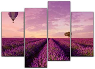 4 Panel Canvas Pictures lavender rows lines with lonely tree and hot air balloon pink Home Decor Gifts Canvas Wall Art for...