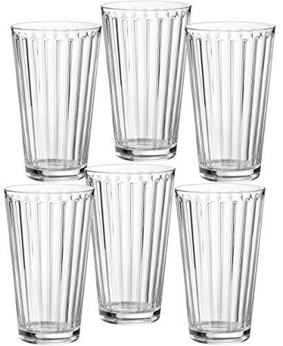 Ritzenhoff & Breker 807004 Longdrinkgläser-Set Lawe Stripes, 6-teilig, je 400 ml, Klar, Glas, 400 milliliters