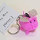 Adorable Handcrafted Pink Flying Pig Key Chain/Backpack Charm/Purse Charm/Key Ring