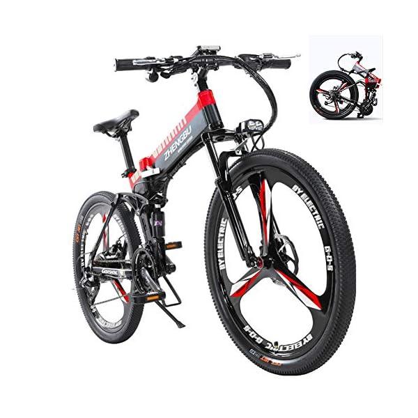 51+Dq80cHaL. SS600  - MDDCER Elektrisches faltbares Mountainbike - Erwachsene Doppelscheibenbremse und vollgefederte Fahrräder, (90 km 48 V 14,5 Ah 400 W) E-Bike mit intelligentem LED-Messgerät, 27-Gang